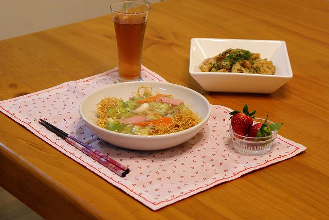 皿饂飩の晩御飯