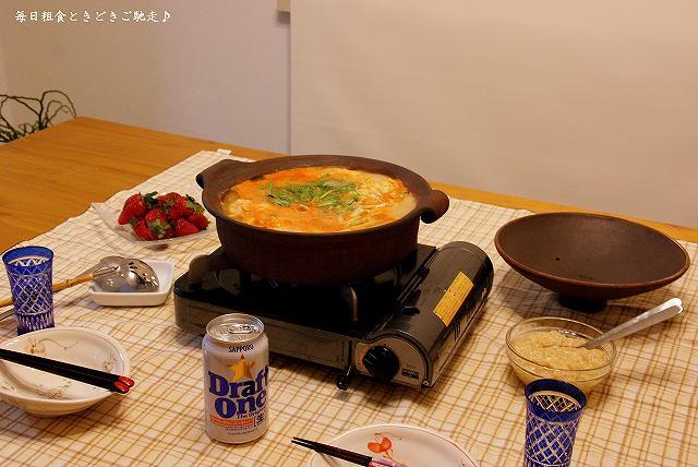 キムチ鍋で晩御飯