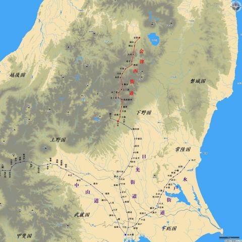 会津西街道概略図