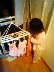 お手伝い 洗濯干し