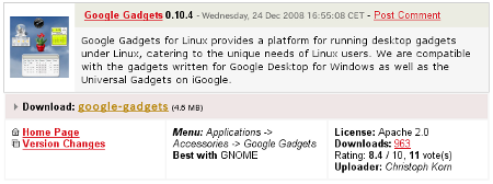 Ubuntu インストール Google Gadets