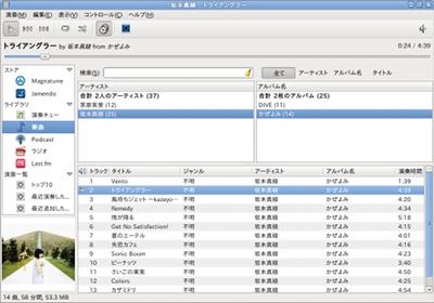 Ubuntu Rhythmbox 音楽プレイヤー