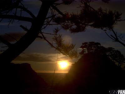 山と海と夕日3