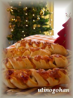 ハムチーズ編み編みパン