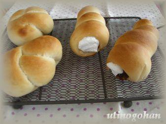 うずまき 生クリーム&あん と 結びパン