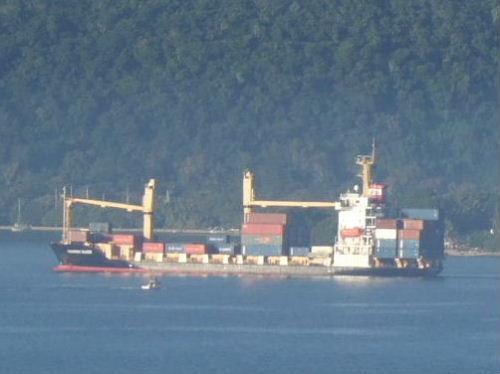 入港した貨物船