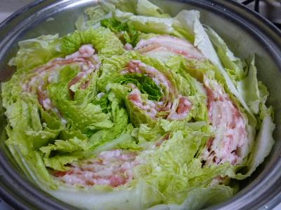 竹の子白菜と豚バラの蒸煮1