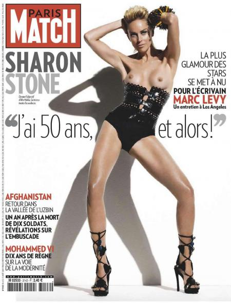 Sharon Stone topless Cover Paris Match August 2009 v01
