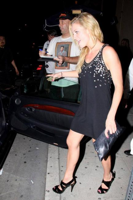 Brittany Snow upskirt exiting car Leaving Madame Royale club in West Hollywood - Aug 26 c04