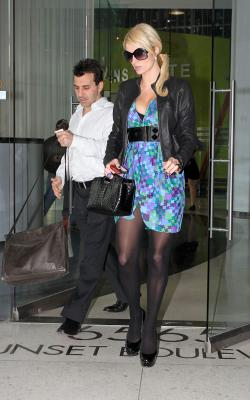 Paris Hilton - flashing in skirt pantyhose out in Hollywood - Feb 23