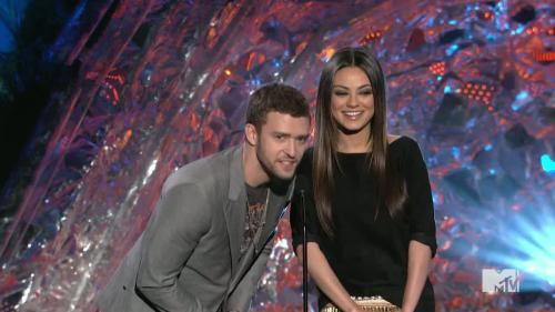 Mila Kunis  Justin Timberlake grab each other