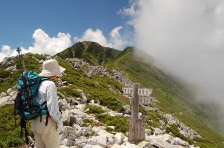 常念岳への登山道分岐