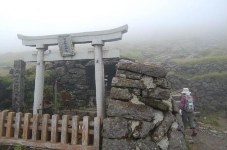 山頂直下の神社