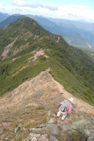 帝釈山への稜線