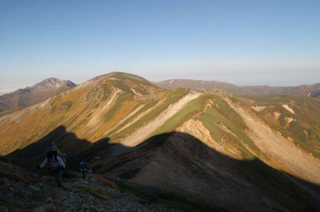 ワリモ分岐からの雲ノ平への稜線