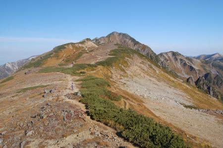 水晶岳への稜線