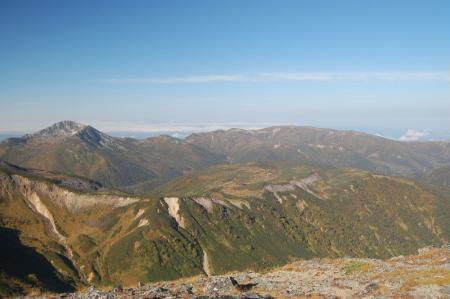 水晶岳への稜線から見る雲ノ平
