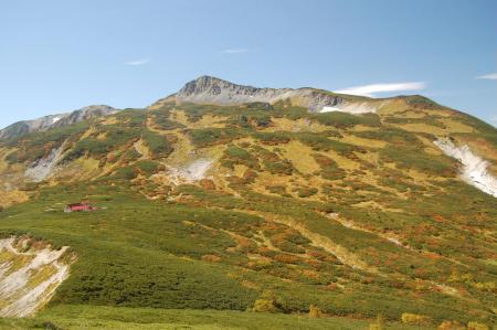 鷲羽岳の下りから見る三股蓮華岳