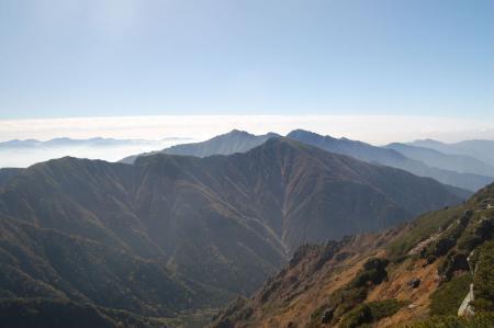 空木岳、南駒ケ岳への稜線