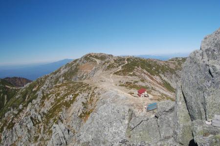 宝剣岳山頂から中岳方面