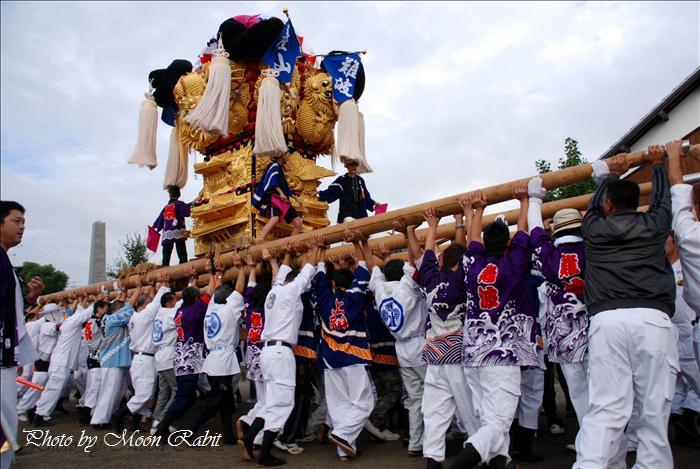 (西条市の祭り) 嘉母(かも)神社祭札(例大祭)宮出し(7) 禎瑞下組子供太鼓台(2) 西条市禎瑞 嘉母神社にて 2008年10月12日
