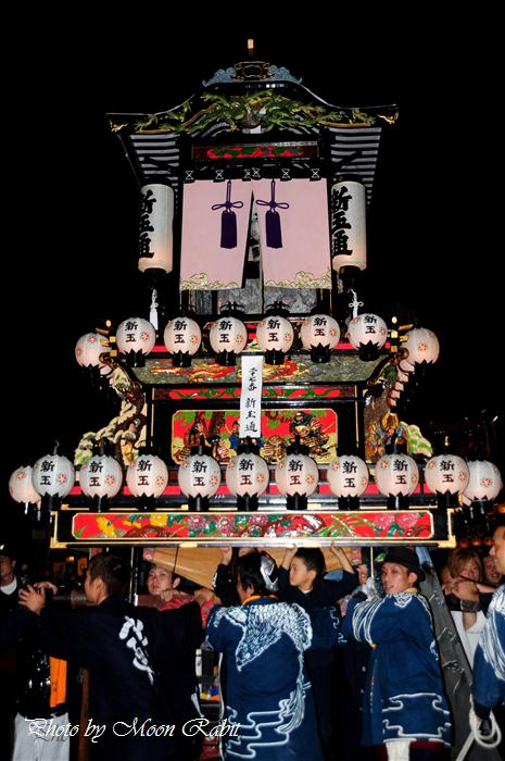 (西条祭り2008) 伊曽乃神社祭礼(例大祭、祭り)後夜祭(7) 新玉通りだんじり(屋台・楽車) JR伊予西条駅前 2008.10.16