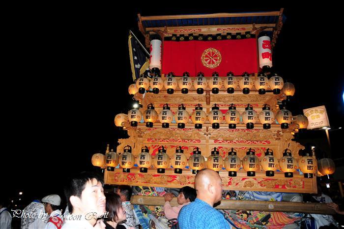 (西条祭り2008) 伊曽乃神社祭礼(例大祭、祭り)後夜祭(9) 西町だんじり(屋台・楽車) JR伊予西条駅前 2008.10.16