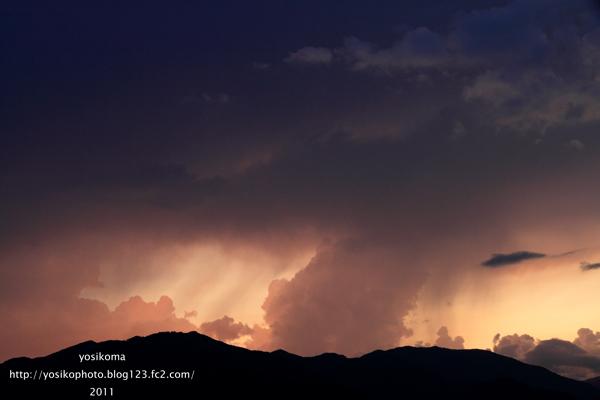 夕焼け風越山3