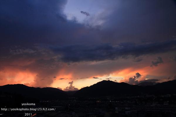 夕焼け風越山1