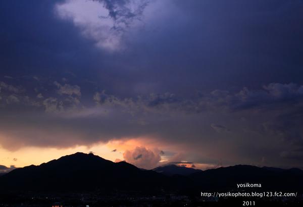 夕焼け風越山2