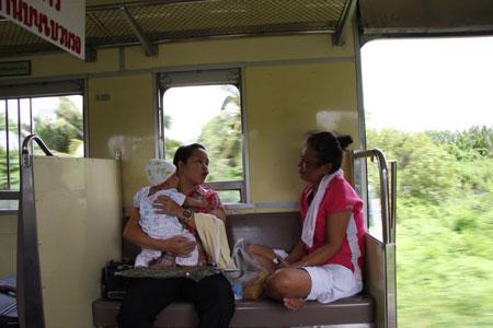 電車で話し込むおばちゃんたち