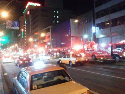 消防車のパレード?