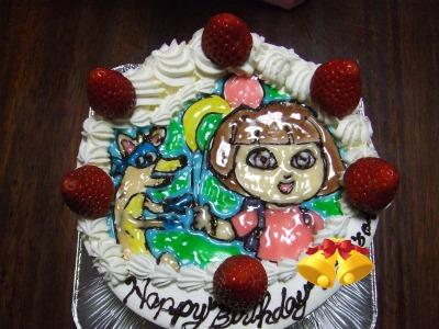 yun2010.12誕生日3歳ケーキDora