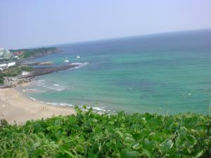 済州島のエメラルドグリーンの海