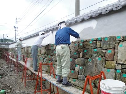 石垣壁 シックイ塗り~八幡宮神社