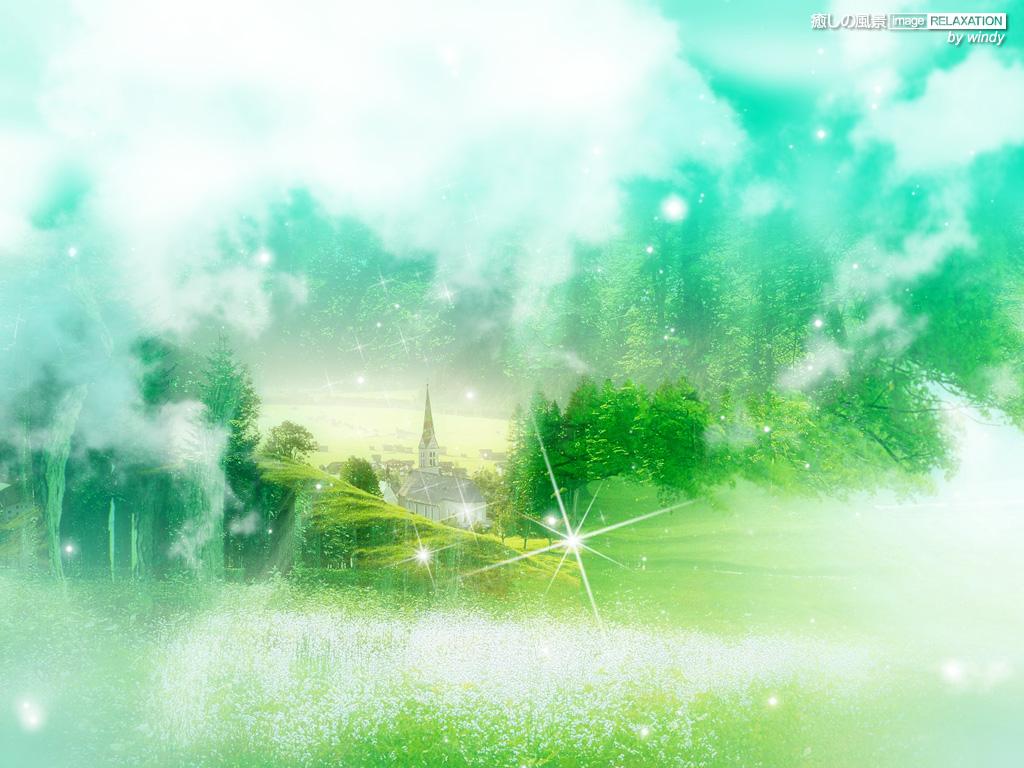 夢で見た癒しの風景 壁紙 グリーン系